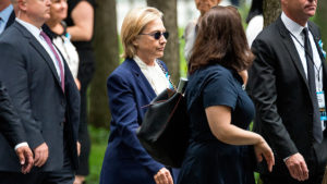 Democratic Presidential nominee Hillary Clinton is seen arriving at a ceremony at Ground Zero held in commemoration of the 15th anniversary of the terrorist attacks on the World Trade Center, the Pentagon and the crash of United Airlines Flight 93 in Shanksville, PA, in lower Manhattan, New York City, NY, USA on September 11, 2016. (Photo by Albin Lohr-Jones) *** Please Use Credit from Credit Field ***